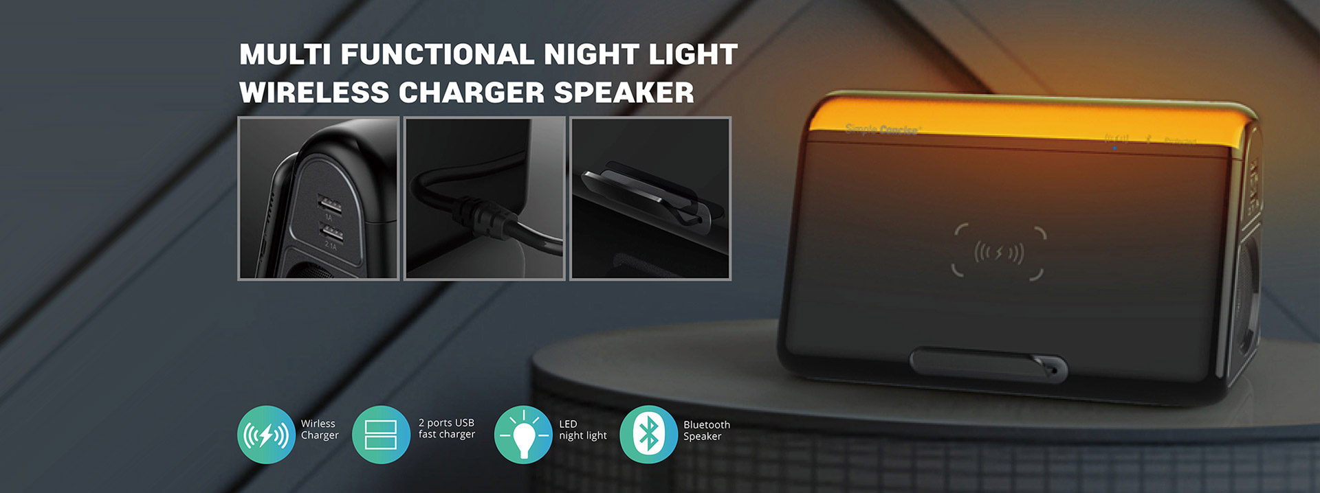 Multi-Functional Wireless Charging Station with Bluetooth Speaker