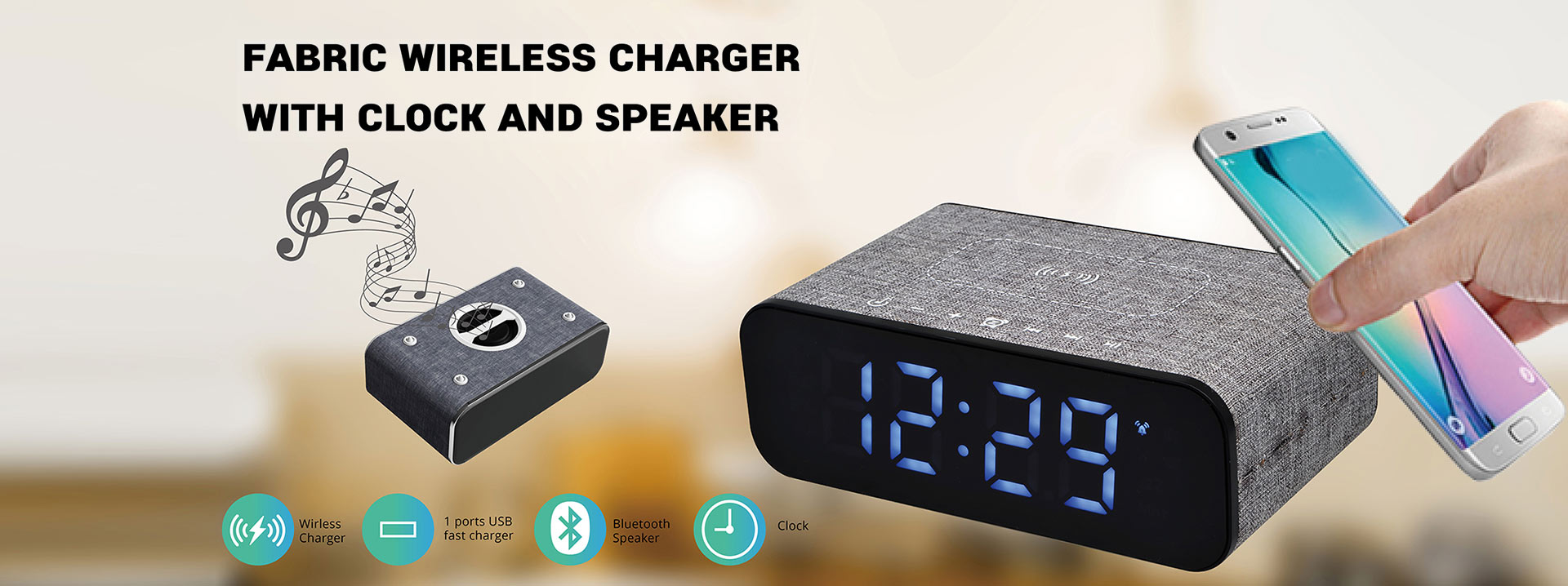 Desktop Wireless Charging Station with Clock