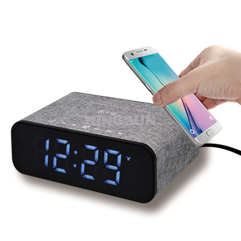 Fabric LED alarm clock fantasy wireless charging station for phone with bluetooth speaker