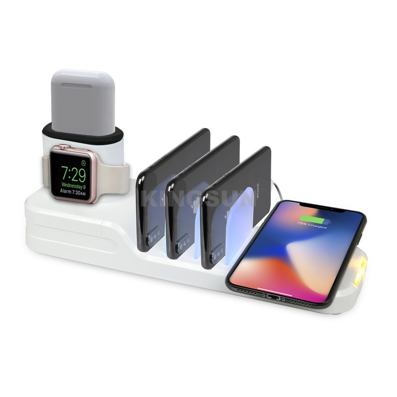 6 in 1 mult functional desktop USB wireless charging station for airpods, airpods pro, phone