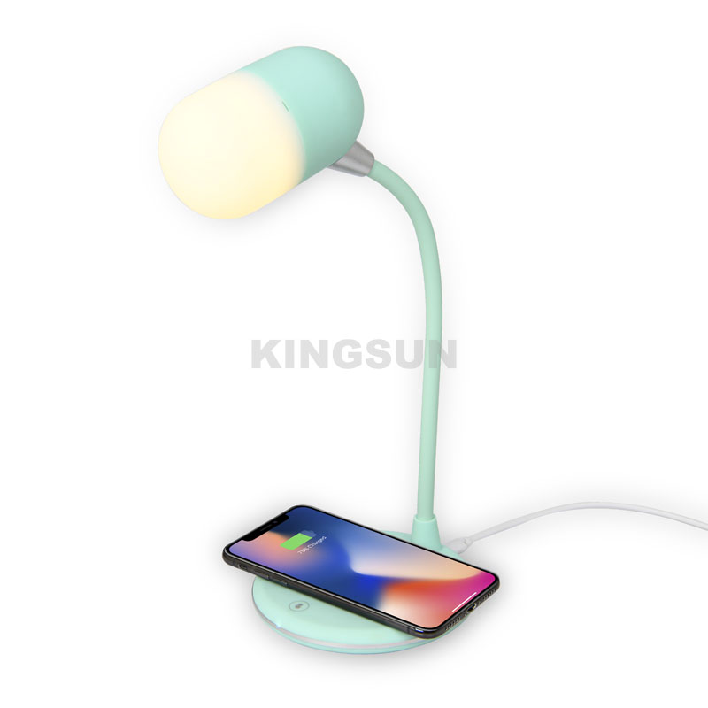 3 in 1 dimmable LED desk lamp with bluetooth speaker wireless charger for bedroom